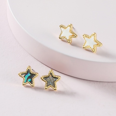 fashion star five-pointed star abalone shell earrings NHLU319945's discount tags