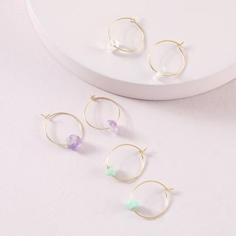 fashion simple natural stone earrings set NHLU319957