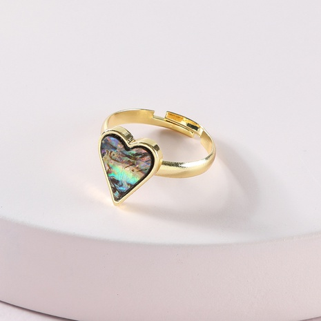 Fashion Korea Simple Abalone Shell Peach Heart Ring NHLU319963's discount tags