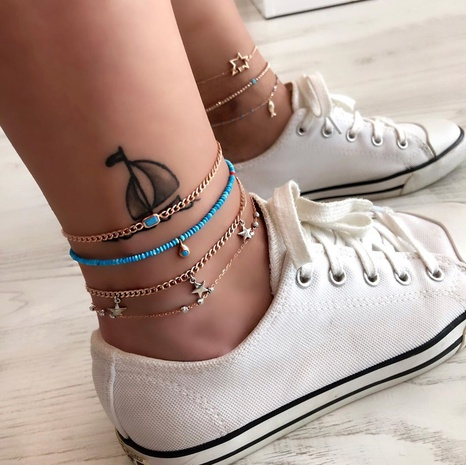 New Fashion Star Multilayer Anklet  NHAJ320056