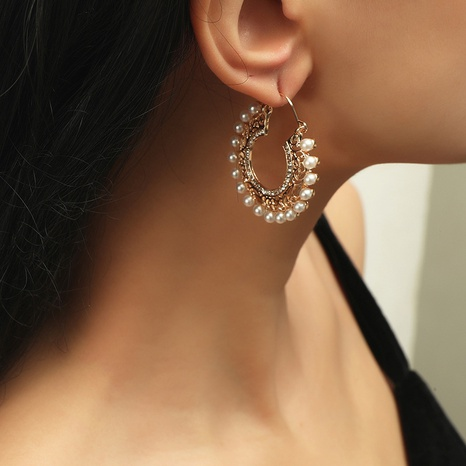 retro palace style carved pearl earrings NHKQ319966's discount tags