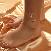 fashion multi-layer pineapple star 2-piece anklet NHKQ319994