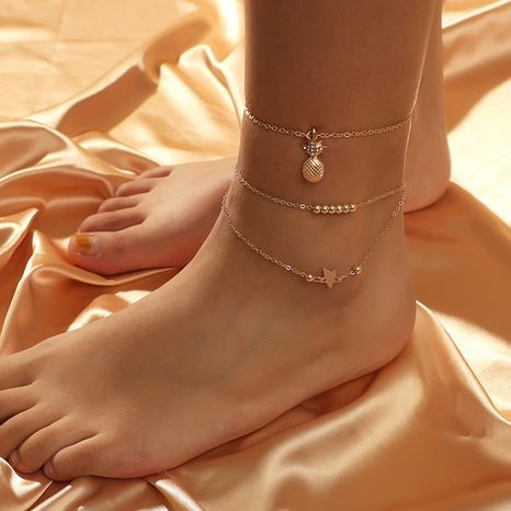 fashion multi-layer pineapple star 2-piece anklet NHKQ319994's discount tags