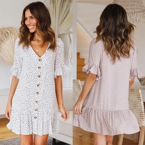 new fashion V-neck button polka dot print dress NHKO320029's discount tags