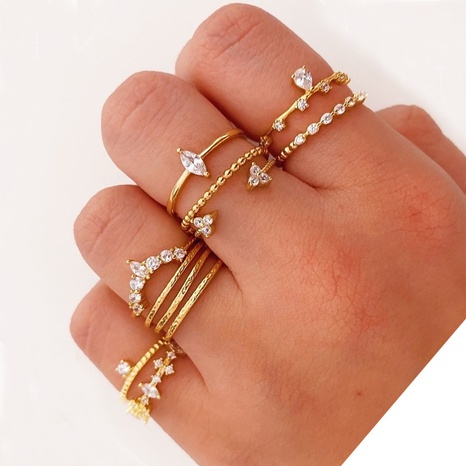 Korean diamond pearl mixed color 11-piece rings set NHQC320014's discount tags