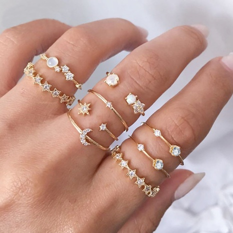 Korean star crescent inlaid brick alloy joint 9-piece rings set NHQC320013's discount tags