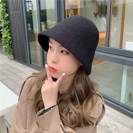 autumn and winter solid color knitted bucket hat NHCM320177's discount tags