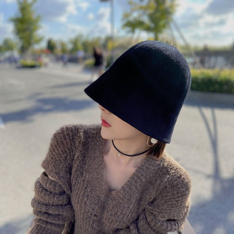 autumn and winter solid color knitted bucket hat  NHCM320178's discount tags