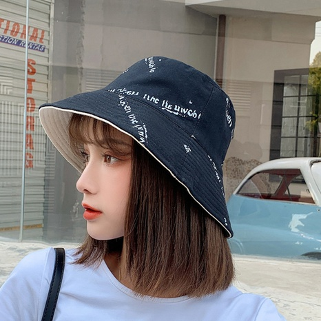 Korean double-sided face-covering sunscreen fisherman hat NHCM320186's discount tags