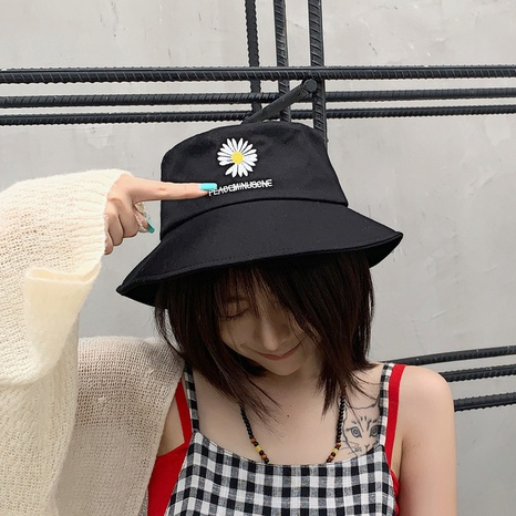 spring and summer embroidered daisy single-sided fisherman hat NHCM320191's discount tags