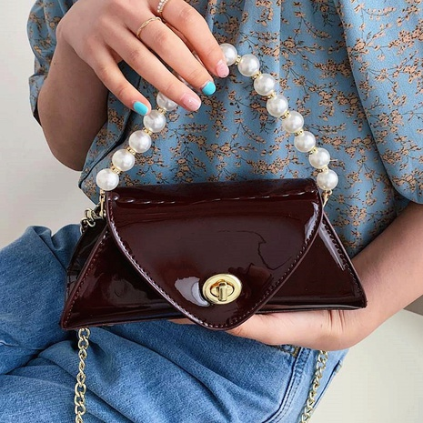 Patent leather fashion pearl portable messenger bag NHTG320339's discount tags