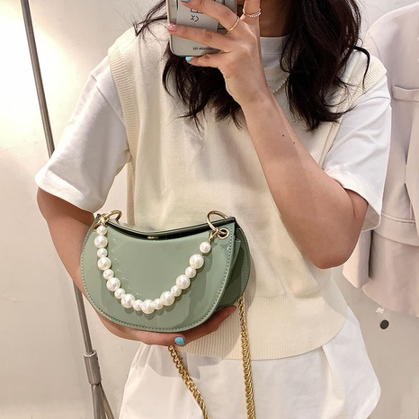 Patent leather new trendy fashion texture saddle bag NHTG320352's discount tags