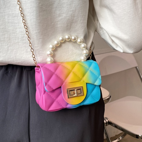 New Korean Cute Color Silicone Diamond Chain Shoulder Messenger Bag NHTG320354's discount tags