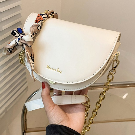 Fashion chain shoulder bag crossbody silk scarf saddle bag  NHTG320360's discount tags