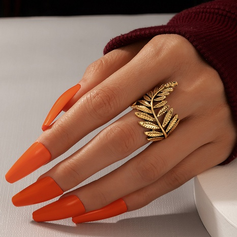 retro style Bohemian leaf ring NHGY320631's discount tags