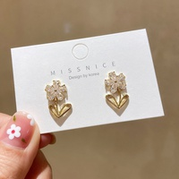 Korean fashion zircon flower earrings NHMS320638