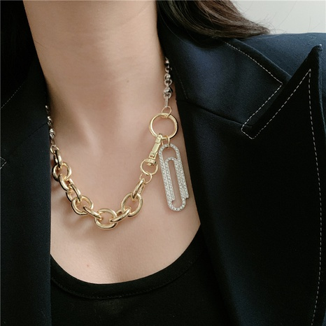 metal two-color stitching paper clip diamond pendant necklace NHYQ320644's discount tags
