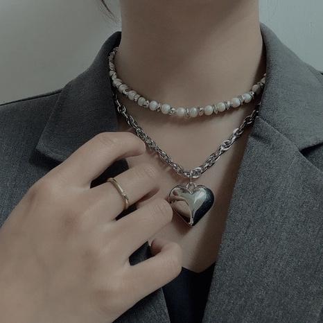 collier design à double épaisseur de perles NHYQ320649's discount tags