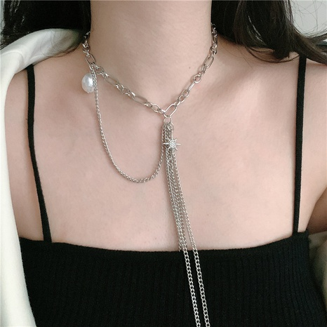 baroque metal star pearl tassel necklace NHYQ320660's discount tags
