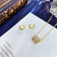 Korean Fashion Earrings Necklace Set NHVA320674