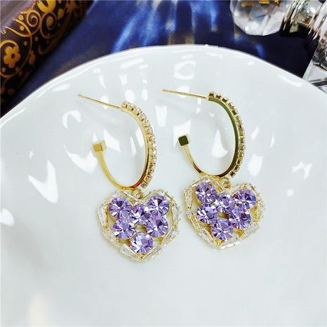 Retro Elegant Purple Heart Earrings NHVA320677's discount tags