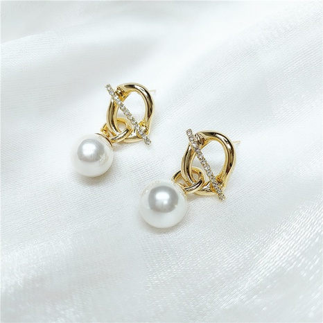 retro geometric golden pearl earrings NHVA320685's discount tags