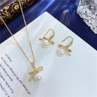 Korean fashion bow pearl necklace earrings NHVA320690