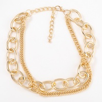 retro metal double-layer necklace  NHJE320725