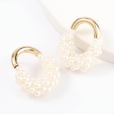 Boucles d'oreilles coréennes mignonnes en alliage d'imitation de perles NHJE320727's discount tags