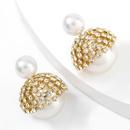 alloy diamond imitation pearl earrings NHJE320741