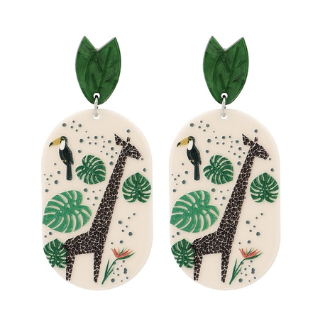 Geometric Leaf and Deer Girl Pendant Stud Earrings NHJJ320761's discount tags