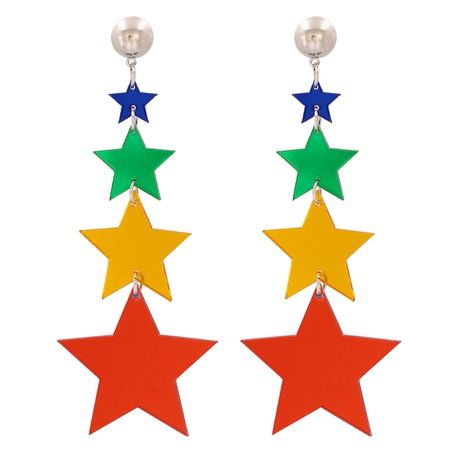 Geometric Star Four-color Five-pointed Star Earrings NHJJ320762's discount tags
