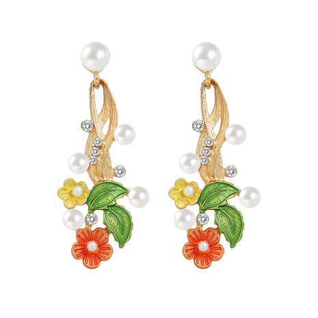retro flower alloy inlaid pearl earrings NHJQ320769's discount tags