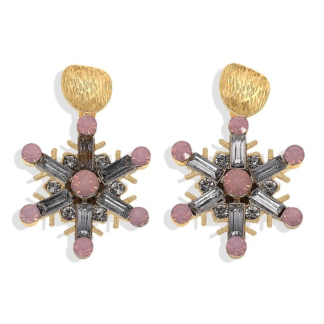 exquisite diamond alloy snowflake earrings NHJQ320770's discount tags