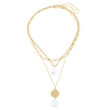 retro inlaid pearl simple pendant necklace NHJQ320776