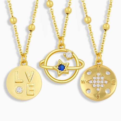 collar de circón con incrustaciones de planeta de moda NHAS320778's discount tags