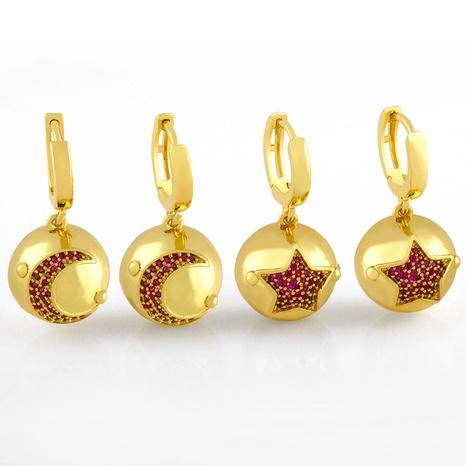 Korean simple star moon earrings NHAS320779's discount tags