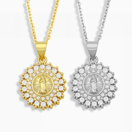 creativo collar con colgante de Madonna con diamantes NHAS320789's discount tags