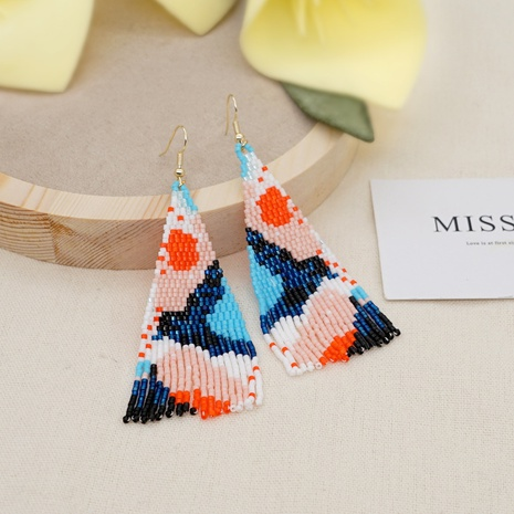 bohemian style long Miyuki beads tassel earrings NHGW320809's discount tags