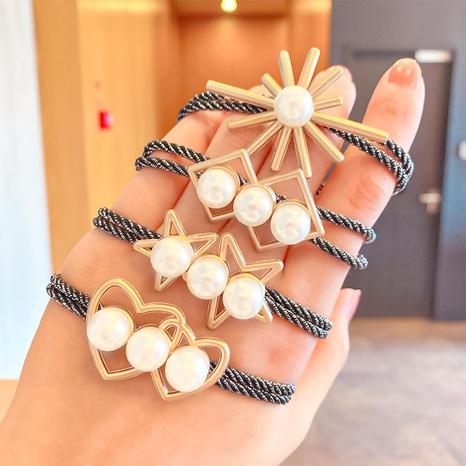 Korean fashion love head rope geometric imitation pearl hair ring NHNA320824's discount tags