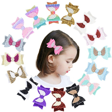 new cute angel wings sequined leather hairpin set NHMO320911's discount tags