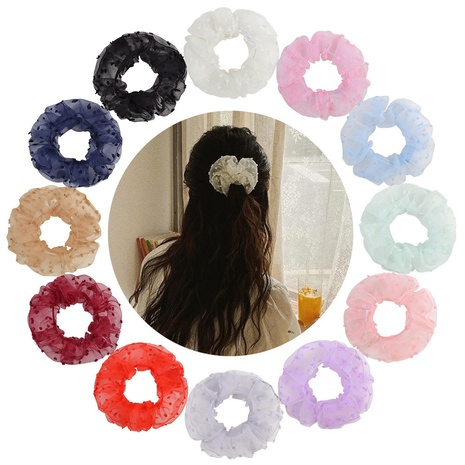 New solid color net yarn hair scrunchies set  NHMO320913's discount tags