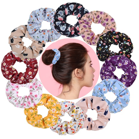 fashion simple chiffon floral hair scrunchies set NHMO320927's discount tags