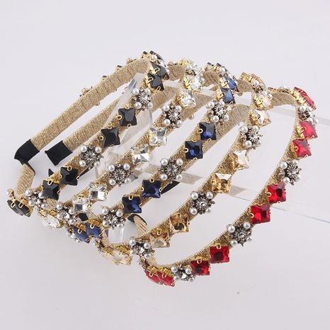 New fashion square diamond geometric pearl headband NHWJ320955's discount tags