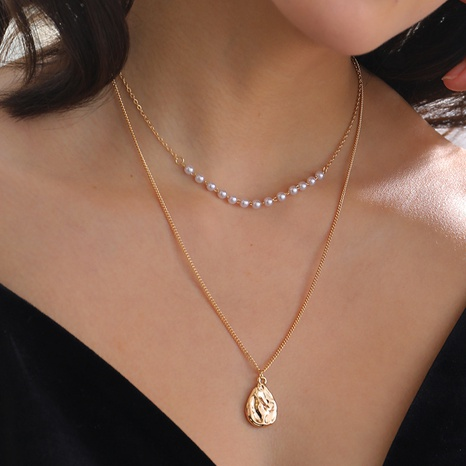 Water Drop Tag Pearl Necklace NHAN320962's discount tags