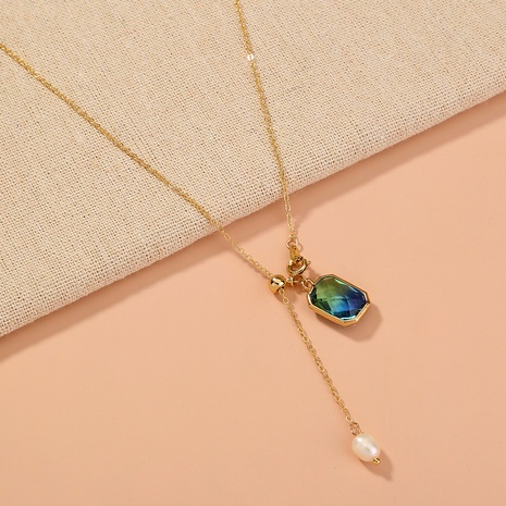 square blue crystal pendant single-layer necklace NHAN320963's discount tags