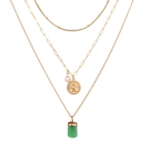disc metal green resin multi-layer necklace  NHAN320964's discount tags