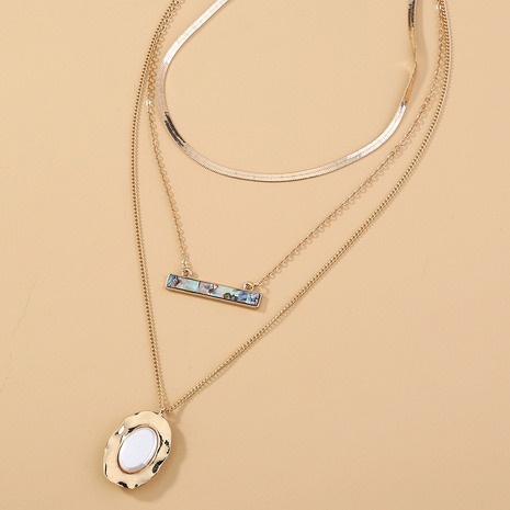oval pure white flat pearl multi-layer necklace NHAN320965's discount tags