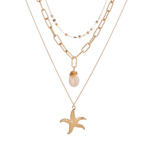 Fashion Metal Starfish Pendant Multilayer Necklace  NHAN320968's discount tags