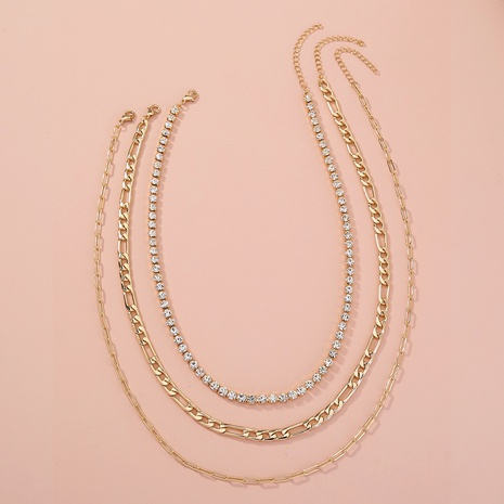hip-hop multi-layer diamond necklace NHAN320967's discount tags